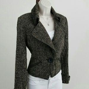 CAbi Tweed Cropped Moto Jacket / Blazer